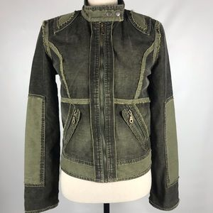 Joie Distressed Olive Green Corduroy Frayed Edges